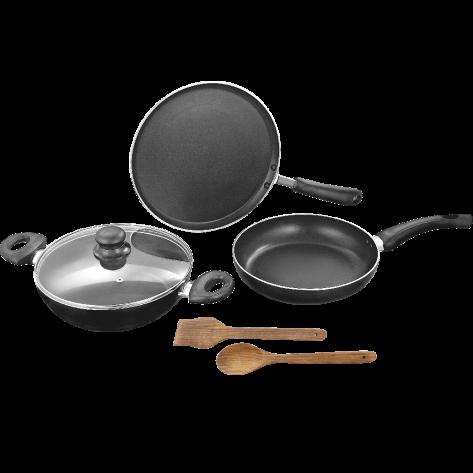 Non Stick Cookware( Set of 3- Karahi,Frypan,Tawa cover,Spectula)