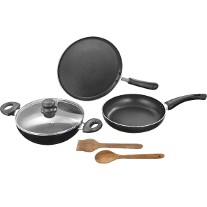 Non Stick Cookware( Set of 3- Karahi,Frypan,Tawa cover,Spectula)